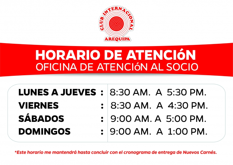 horario de atenci n oficina de socios club